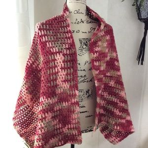 Accessories - Handmade Maroon Pink Crochet Shawl Wrap OS